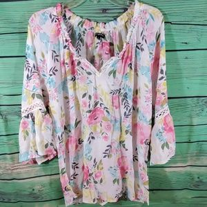 Ava & Grace Floral V neck Blouse